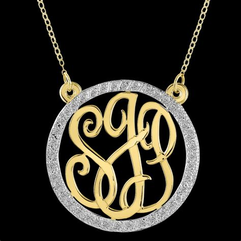 personalized monogram necklace with cubic zirconia