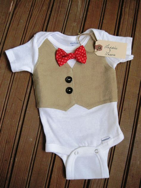 items similar to tan corduroy vest onesie with red pattern