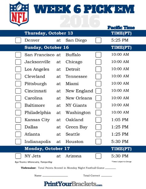 printable nfl schedule week 5 pacific time week 6 nfl schedule 2016 printable