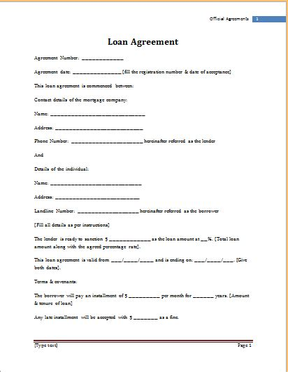 loan form template ms word loan agreement template word document templates