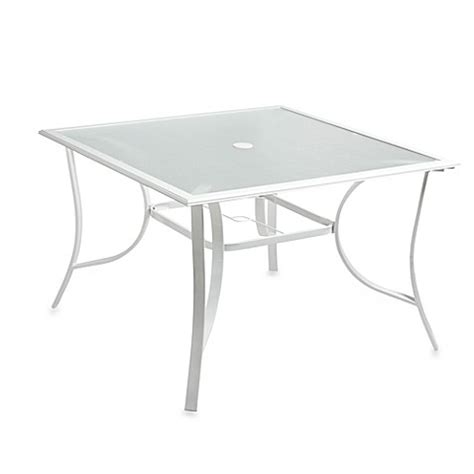 Glass Square Dining Table For 4 Buy 44 Inch 4 Person Square Glass Top Dining Table In White From Bed Bath Beyond