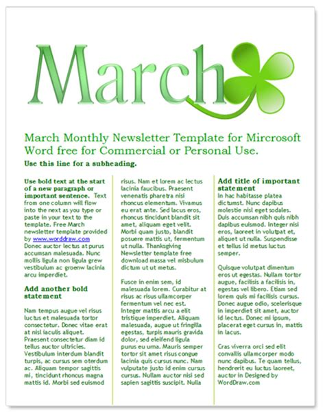 free march newsletter template by worddraw com