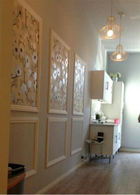 wallpaper framed  chair rail   home
