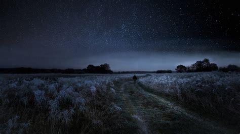 rural frosty pathway   starry sky hd wallpaper