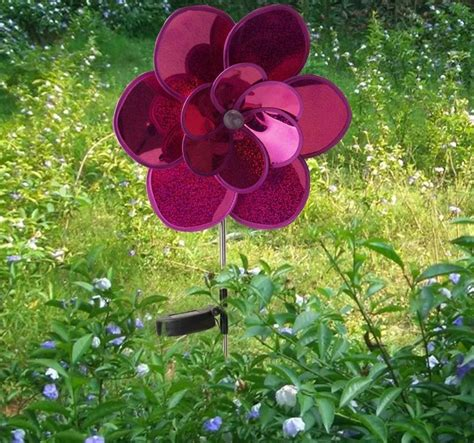 solar garden flowers solar led windmill flower spinner garden stake light
