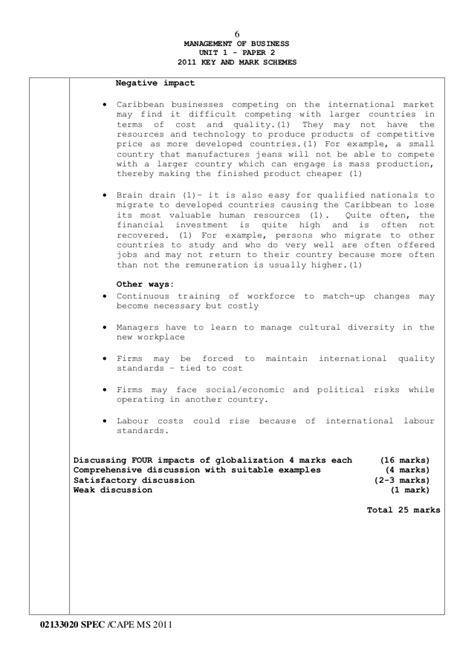 Cape Mob Ia Literature Review by Cxc Csec Principles Of Business Pob Syllabus Education Pdf