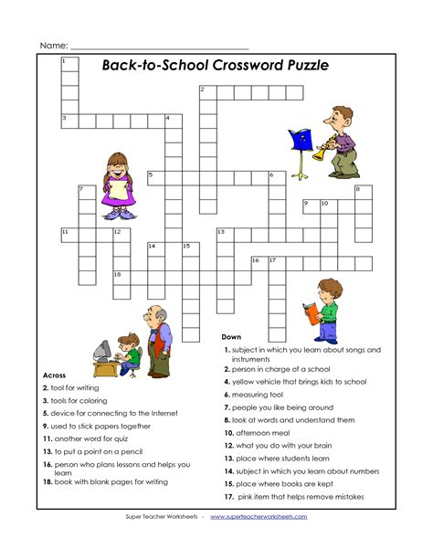 College Letter Earners Crossword 4 best images of back to school puzzles printable back