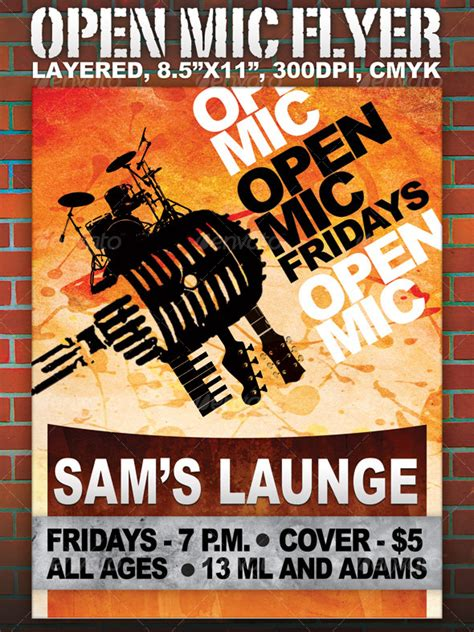 Open Mic Flyer 8 5x11 Layered By Scarab13 Graphicriver Open Mic Poster Template