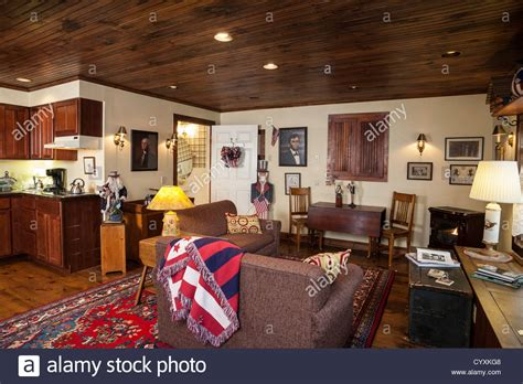 great room interior with early american decor usa stock