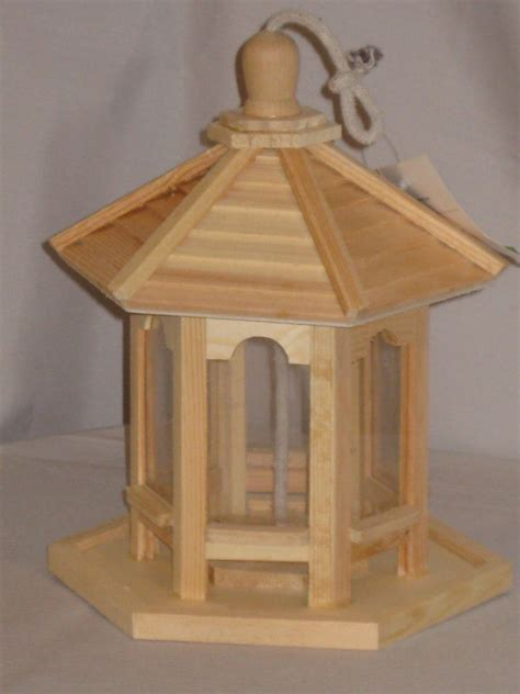 Paintable Bird Feeders Unfinished Wood Hexagon Shaped Gazebo Style Bird Feeder Ebay
