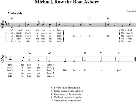 michael row the boat ashore free sheet music 17 best images about nuty na keyboard dla dzieci on pinterest