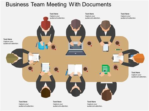 Me Business Team Meeting With Documents Flat Powerpoint Design Team Meeting Powerpoint Templates