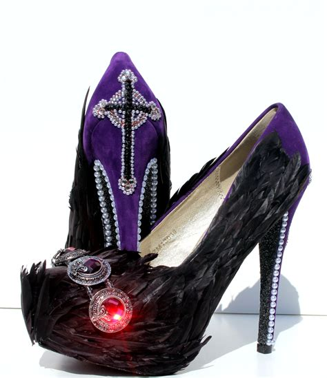 High Heels Brukat Black Swan black feather high heels with crystals and pearls aka