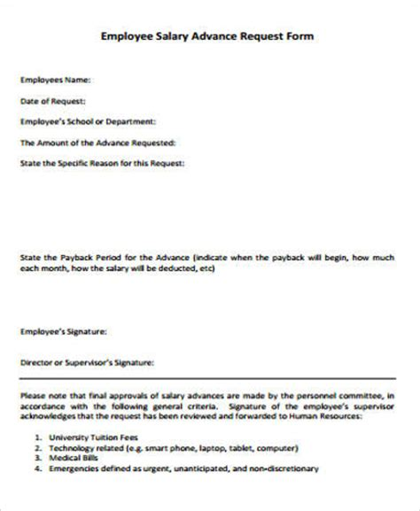 Employee Advance Payment Request Letter Sle Employee Advance Form 8 Exles In Word Pdf
