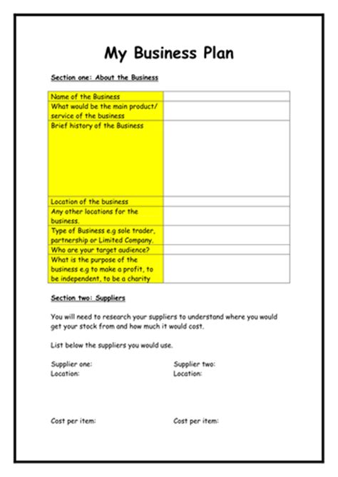 e business plan template business plan template by flaink teaching resources tes