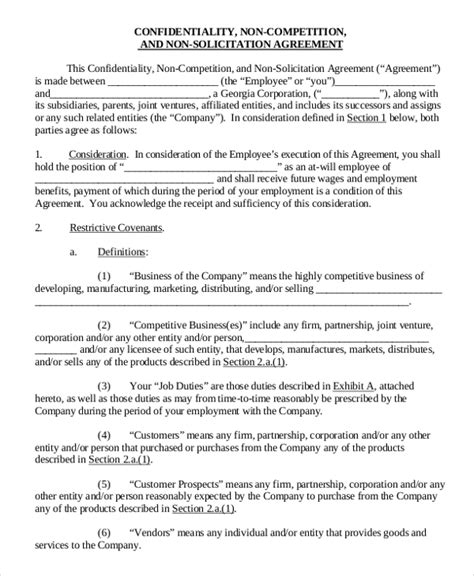 business templates noncompete agreement employee non compete agreement 10 free word pdf