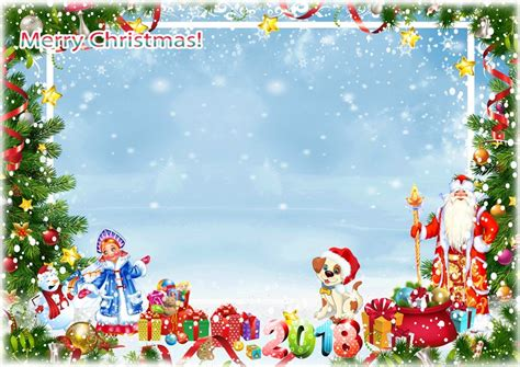 download merry christmas photo frame psd png for