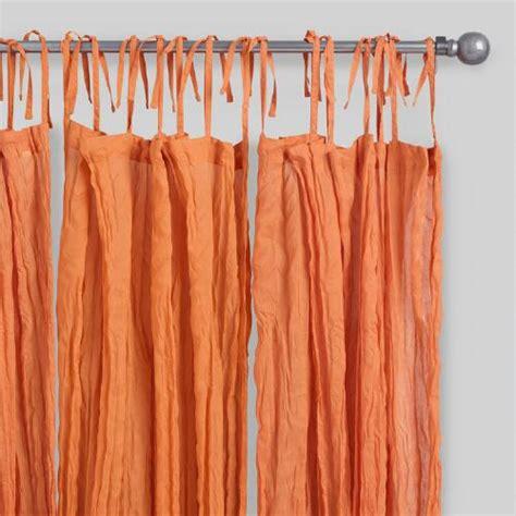 Sheer Orange Curtains Orange Crinkle Sheer Voile Cotton Curtains Set Of 2 World Market