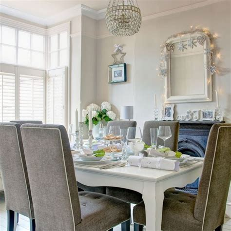 white and grey dining room traditional dining room ideas