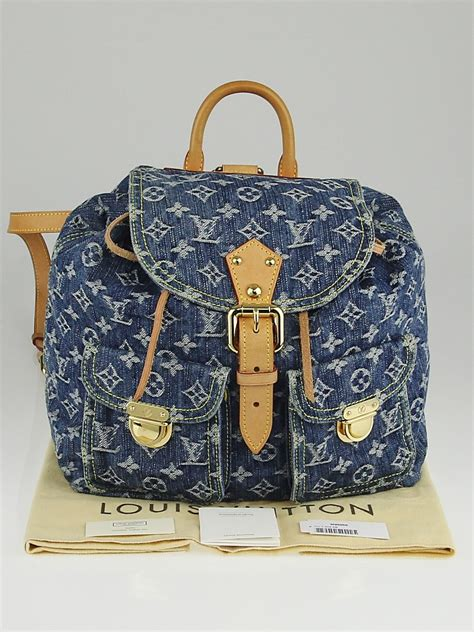 louis vuitton blue denim monogram denim sac  dos gm