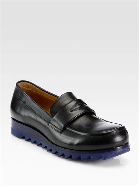 black wedge loafers jil sander leather wedge loafers in black