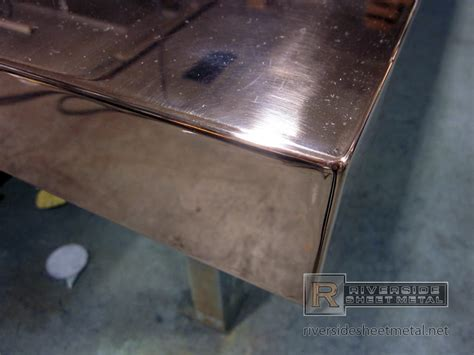 Steel Plate Countertop by Finished Welded Corner Detail On A Copper Counter Top