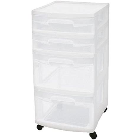 Sterilite 4 Drawer Storage Cart by Sterilite 28228002 Home 4 Drawer Wide Storage Cart