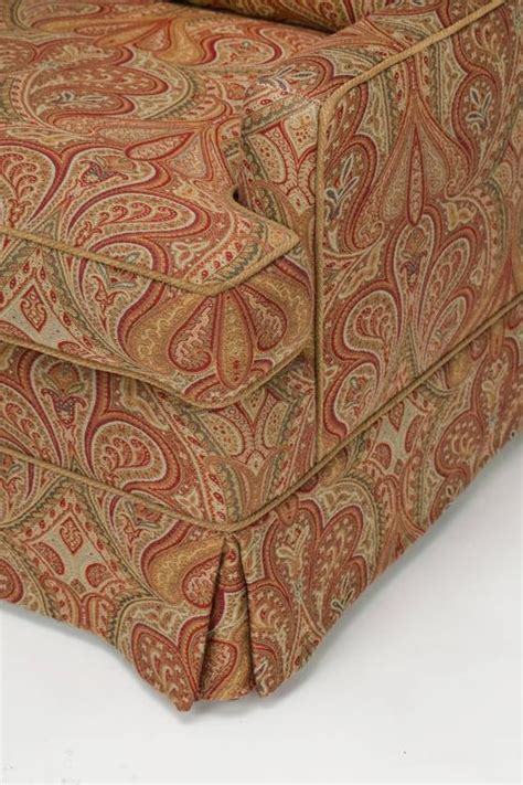 paisley ottoman chair and ottoman upholstered in wool paisley fabric at 1stdibs