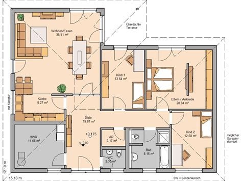 Grundriss Haus Bungalow by Kern Haus Balance Grundriss Erdgeschoss Haus