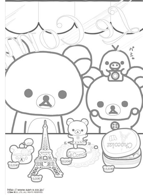kawaii japanese coloring pages make your own rilakkuma coloring page with french theme