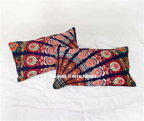 blue throw pillows for bed blue multi bohemian peacock mandala bed pillow covers set