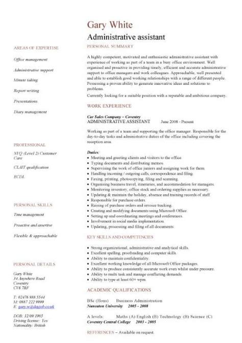 administrative resume templates office administration cv exles