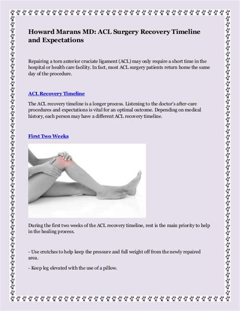 acl surgery recovery howard marans md acl surgery recovery timeline and expectations