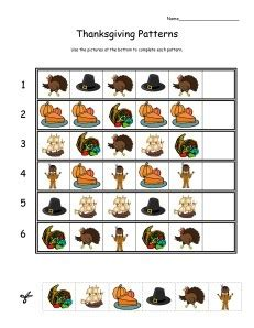 thanksgiving pattern worksheets kindergarten 132 best images about patterns unit on pinterest