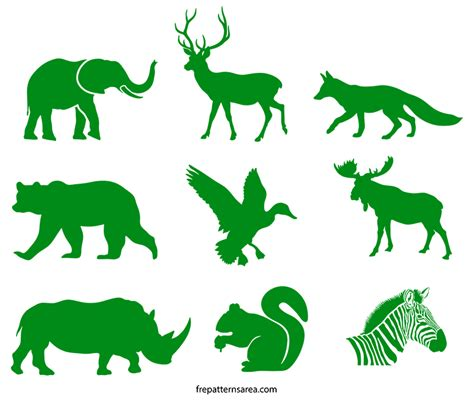 wildlife animals silhouette stencil printable template