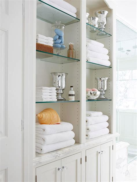 Open Bathroom Shelving Built In Linen Cabinet Traditional Bathroom Bhg
