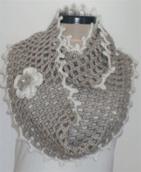 crochet cowl neck scarf with flower and edging crochet