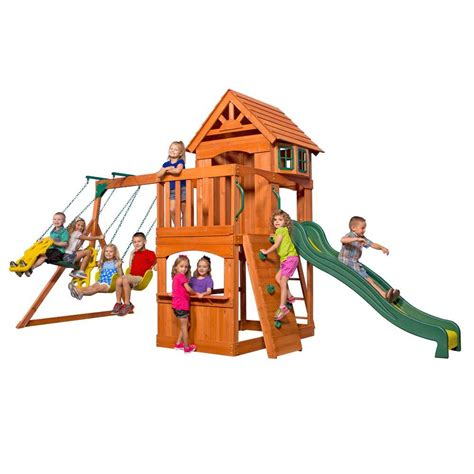 cedar backyard playsets backyard discovery skyfort ii all cedar playset 6113com