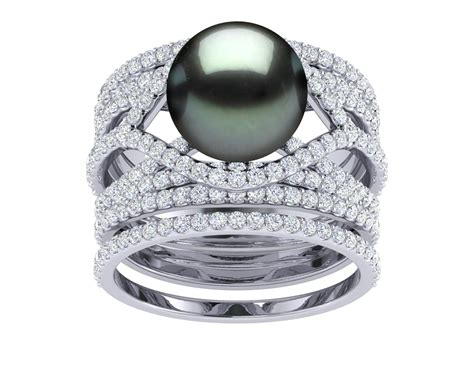 tahitian pearl deluxe rainbow engagement ring wedding