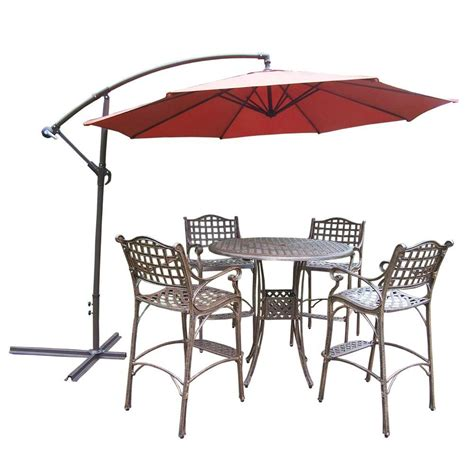 Bar Height Patio Umbrella oakland living 6 aluminum patio bar height dining set and umbrella hd1101 1100 4110