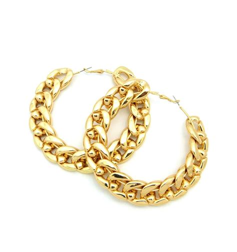 new gold silver cuban link chain hoop earrings hip hop