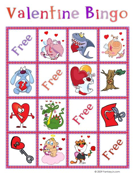 valentine bingo card 6 woo jr kids activities