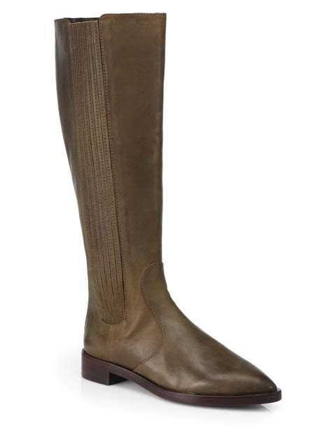 burch boots lyst burch newton leather knee high boots in brown