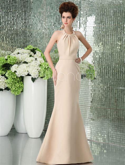 Gold Floor Length Dress by Gold Floor Length Satin Bridesmaid Dress Milanoo