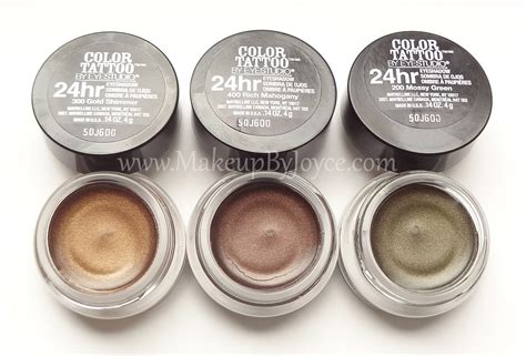 maybelline tattoo cream eyeshadow swatches makeupbyjoyce review swatches maybelline color