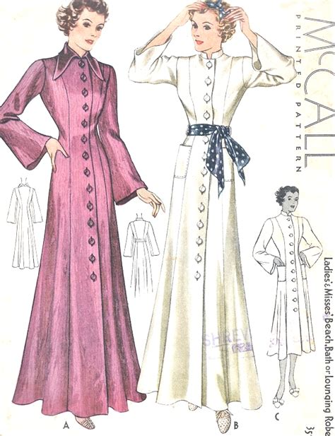 sewing pattern kimono dressing gown 1930s beautiful beach coat bath robe lounging robe