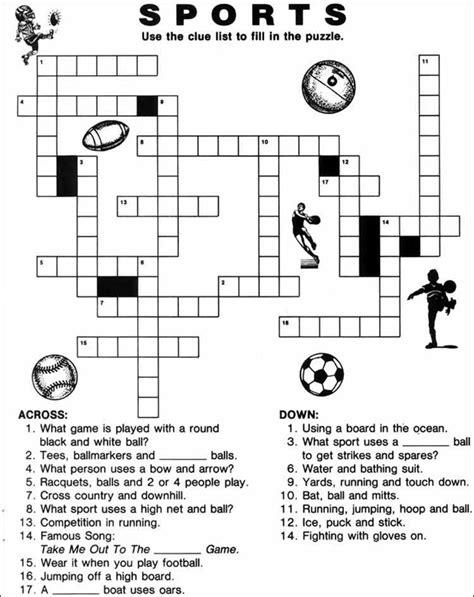 Printable Crossword Puzzle Sports | printable sports crossword puzzles english pinterest