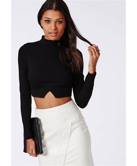 Cutout Crop Top lyst missguided cut out hem sleeve crop top black