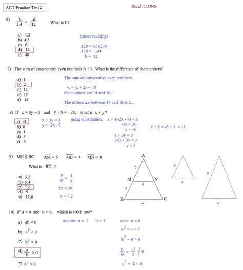 Act Practice Test 1 Section 1 Answers by Math Plane Act Practice Test 2