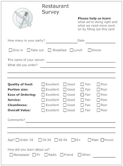 Restaurant Questionnaire Template by Exle Image Restaurant Survey Form Resident Retention